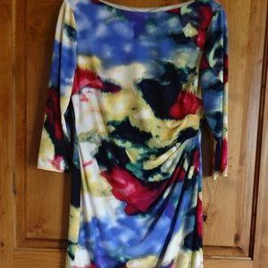 Eliza J Multi color ruched 3/4 sleeve sheath dress